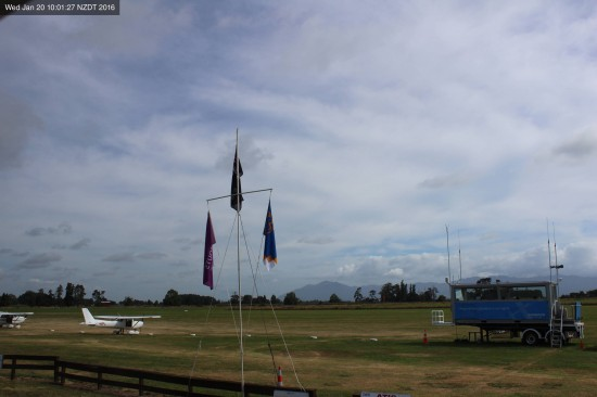The Walsh Camp flags and portable control tower